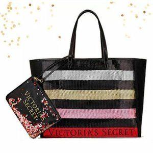 Victoria's Secret Tote Sequin Bag & Wristlet